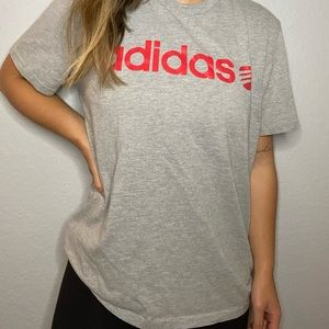 ADIDAS grey and red top